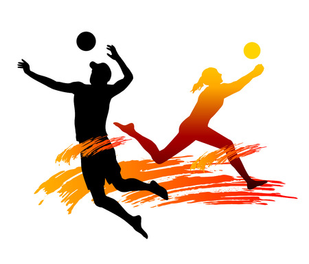 Illustration Strand-Volleyball-Spieler mit Elementen Standard-Bild - 24477275