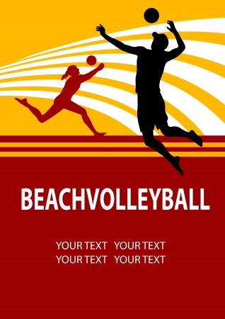 Illustratie - beachvolleybal poster achtergrond Vector Illustratie