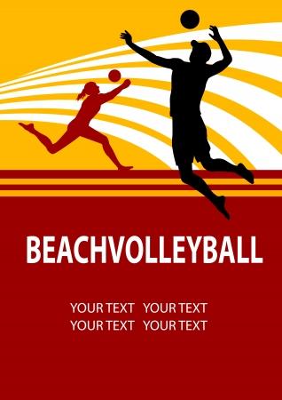 voleibol: Ilustraci�n - el voleibol de playa de fondo del cartel Vectores
