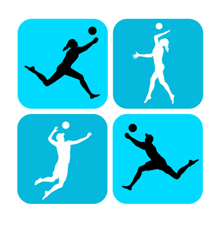 volley ball: Illustration � beach volleyball player with elements