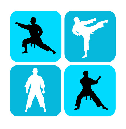 Illustration karate silhouettes with elements Illustration