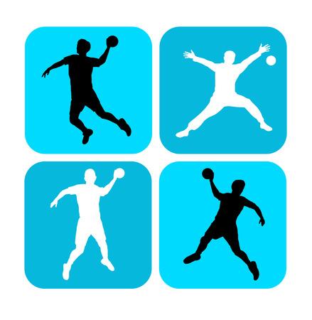 Illustration - Handball player with elements Vector