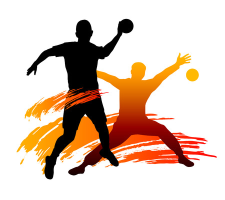 Illustration - Handball-Spieler mit Elementen Standard-Bild - 24645683