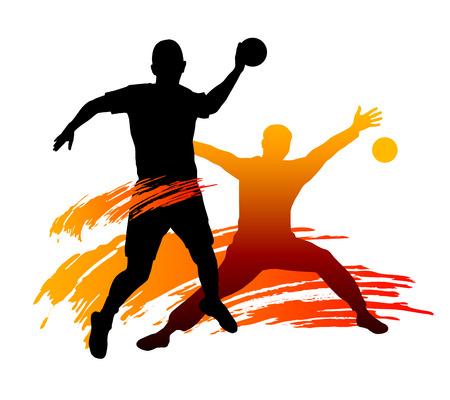 pallamano: Illustrazione - Pallamano giocatore con elementi Vettoriali