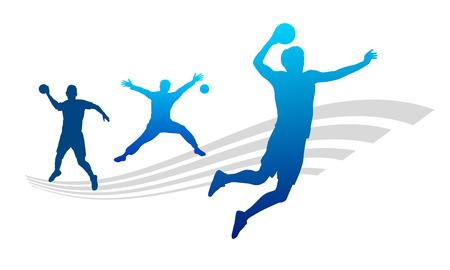 pallamano: Illustrazione - giocatore di palla a mano con elementi Vettoriali
