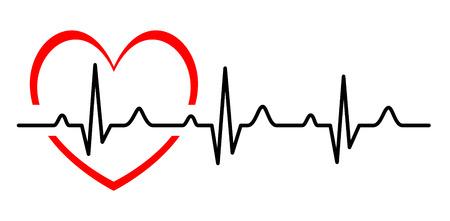 hjärtslag: Illustration - abstrakt hjärta slår cardiogram