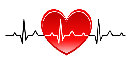 heart attacks: Illustration - Abstract heart beats cardiogram