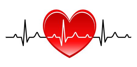 puls: Ilustracja - Abstrakcyjna serce bije kardiogram
