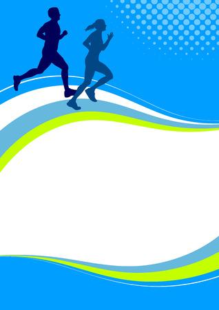 buiten sporten: Illustratie - Running sport poster achtergrond