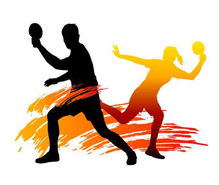 ping pong: ilustración vectorial de los jugadores de tenis de mesa