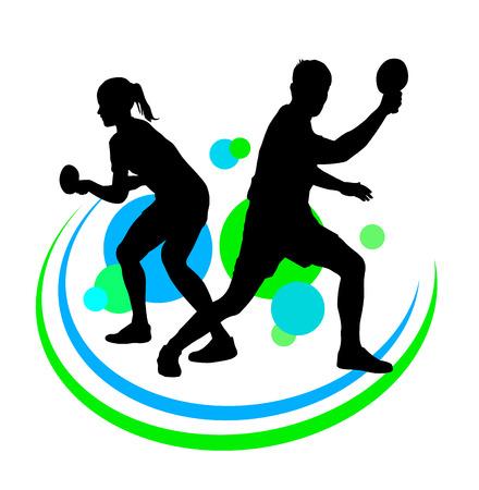 tischtennis: Vektor-Illustration der Tischtennisspieler