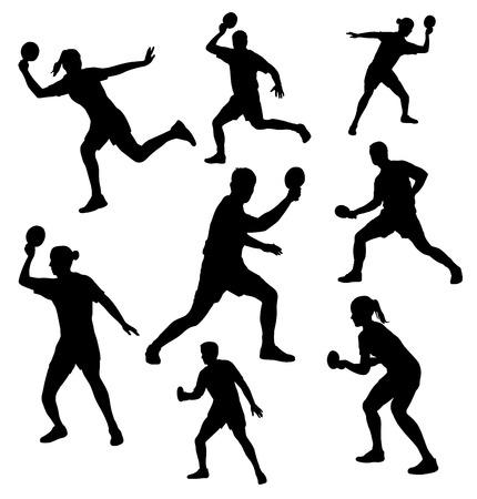 tennis de table: Collection - silhouettes de joueur de tennis de table Illustration
