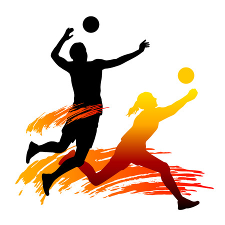 drinnen: Illustration der Volleyball-Sport