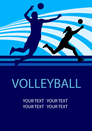 Illustration of volleyball sport poster background