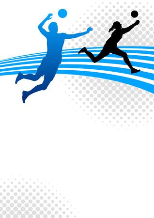 バレーボール スポーツ ポスター背景のイラスト