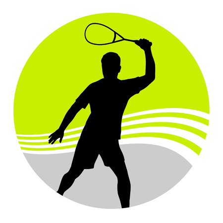 vector illustration of a squash player Illustration