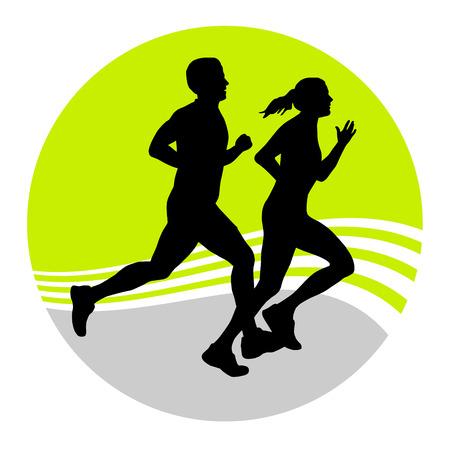 triathlon: Illustration - running people Illustration