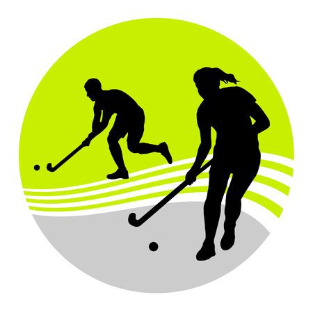 grass hockey: Ilustraci�n - jugador de hockey de campo