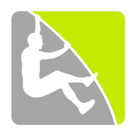 Athlete pole vaulter jumping Vector