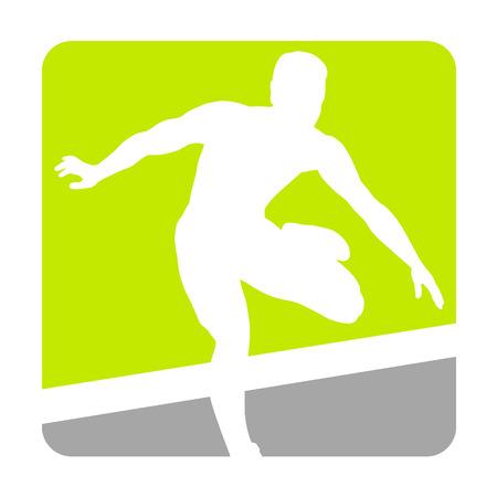 hurdles: Hurdler fly over hurdles