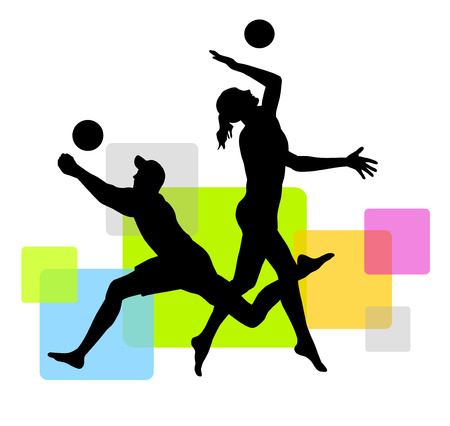 beach volleyball players with elements
