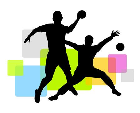 handball: handball player with elements Illustration