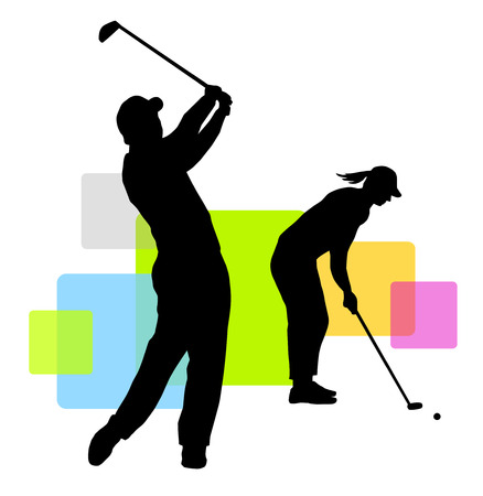 golf players with elements Vector