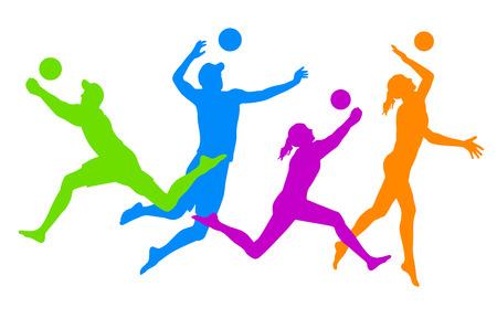 ビーチバレー ボール選手  イラスト・ベクター素材