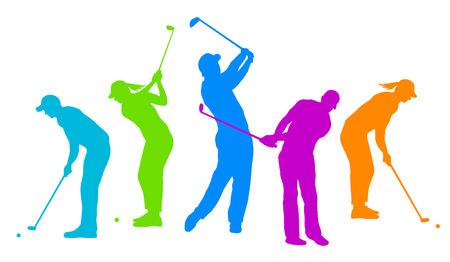 silhouettes of golf players  Иллюстрация