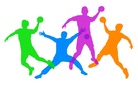 silhouettes of handball players