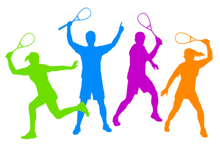 squash: vector illustration of squash player Illustration