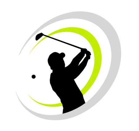 golfspeler met elementen Vector Illustratie