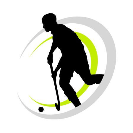 hockey cesped: campo jugador de hockey Vectores