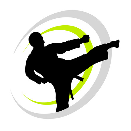 karate fighter with elements Vector