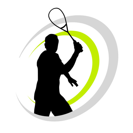 vector illustration of squash player Иллюстрация