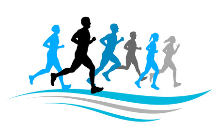 group fitness: running people Illustration