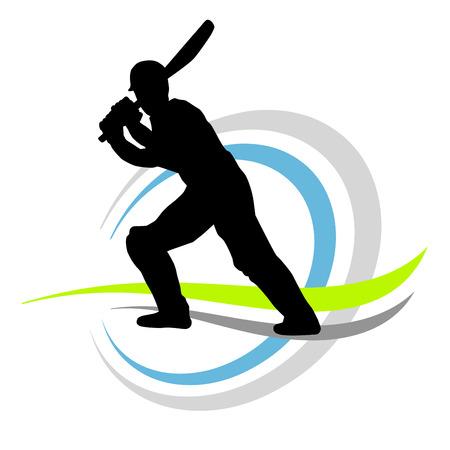 batting: cricket player illustration