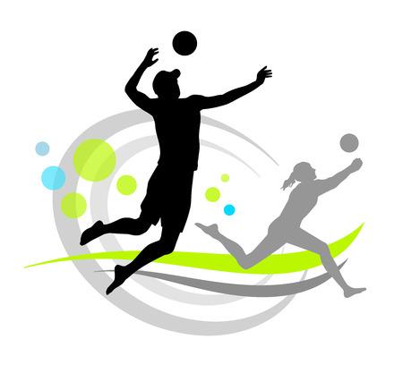 voleibol: playa ilustraci�n de voleibol Vectores