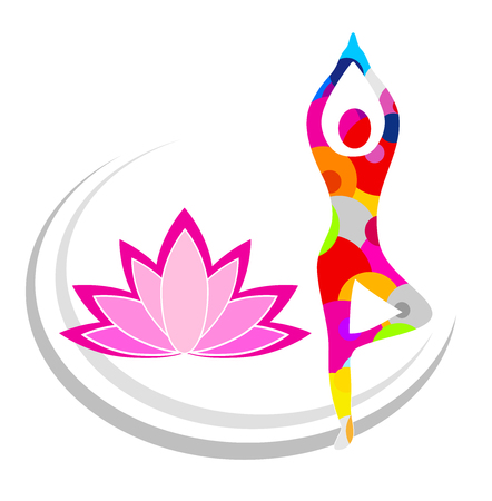 yoga workout with lotus blossom Illustration