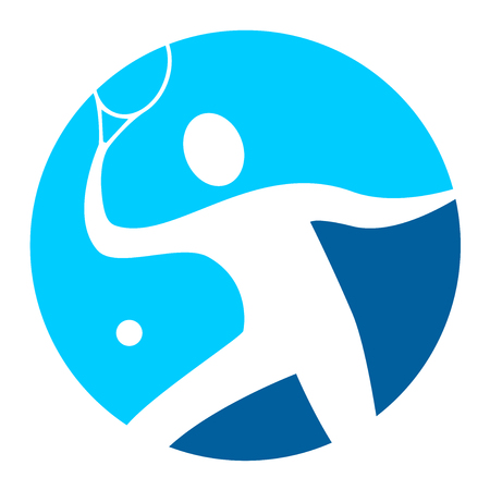 tennis player logo in blue