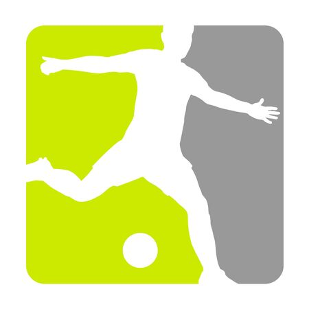 Soccer player in a button icon design 向量圖像