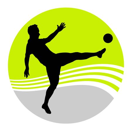 Soccer player in action in vector button
