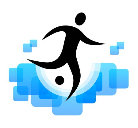 Abstract soccer player icon design