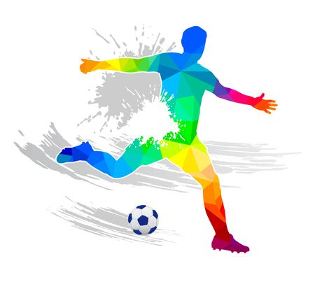 Abstract soccer player silhouette in colores