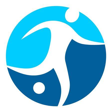 Soccer player in blue button icon design