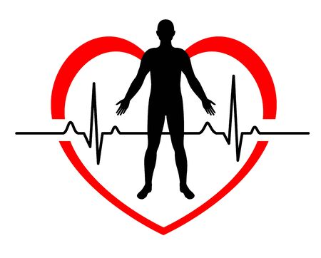Man in a red heart electrocardiogram icon design