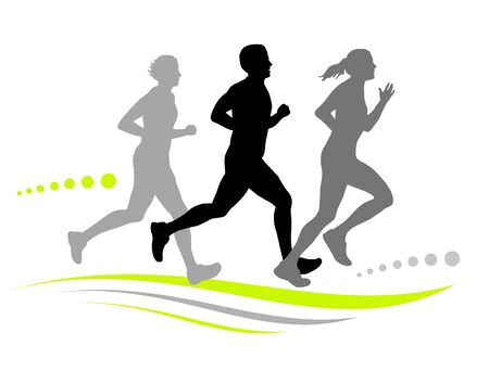 Three running people vector icon design