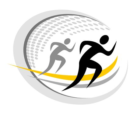 Two running men sport icon design