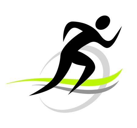 Laufender Mann-Sport-Icon-Design Vektorgrafik