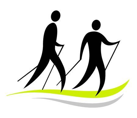 Disegno dell'icona dello sport del nordic walking Vettoriali